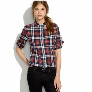 Madewell Berry Plaid Boyshirt, plaid, size XS